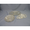 Lot of 3 Glass Serving trays