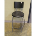 Bar Stool Silver Black Seat