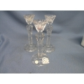 3 Crystal Clear Hand Crafted Candle Sticks