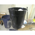 Small Metal Black Garbage Can Silver Handles
