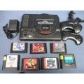 Sega Genesis 16-Bit Console 2 Controllers 7 Games