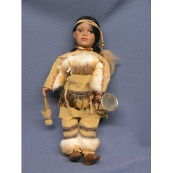 """17"""" Soft Bodied Porcelain Doll Native American Indian"""