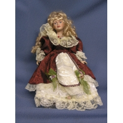"""17"""" Soft Bodied Porcelain Doll Red Creme Dress"""