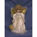"17"" Soft Bodied Porcelain Doll Angel White Dress"