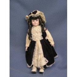 "17"" Soft Bodied Porcelain Doll Purple Dress"