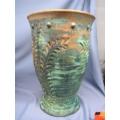 "Large Clay Planter Vase Green Brown 18""x12"" - Fern Pattern"