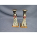 2 Candle Holders Porcelan Irises Pillars