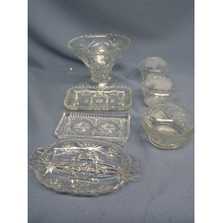 Lot of Crystal and Glass Pin Wheel Dishes
