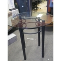 Glass Top Bistro Table Black Alum Base Counter Tall