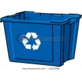 Square Blue Recycling Bin