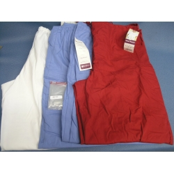 Lot of 4 Unisex drawstring Scrubs Pants Cherry Blue White - L