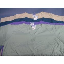 Lot of 4 Landau Scrub Shirts  Green Teal Purple Beige XL