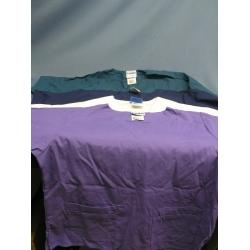 Lot of 4 Landeau Scrubs Shirts Navy Teal White Purple - XL