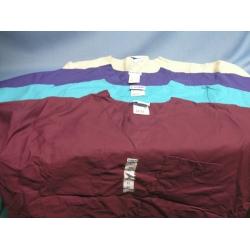 Lot of 4 Landau Scrubs Tan Green Purple Burgundy T-Shirt - XL