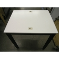 White Corian Table with Laptop Locks Desk Worktable w Black Legs