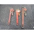 Lot of 3 Pipe Wrenches Ridgid Mastercraft Alltrade