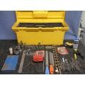 Yellow Toolbox w Assorted Tools - Drill Bits Sockets Files