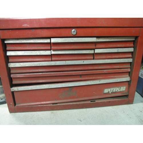 red 9 drawer waterloo toolbox with assorted tools - files wrench