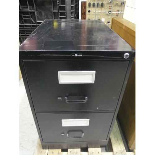 Black 2 Drawer ProSource Locking Vertical Filing Cabinet