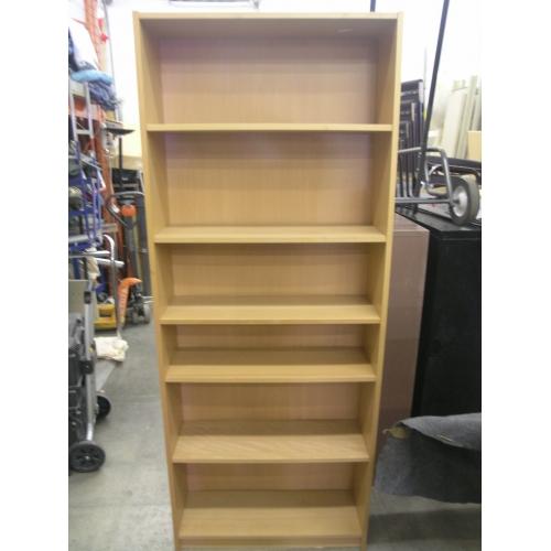 Light Maple 5 Shelf Bookcase 32x11x80 Bookshelf