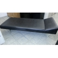 Black Nurse Bed couch w Raised Headrest Chrome Legs