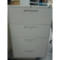 Global Beige 4-Drawer Lateral File Cabinet, Locking