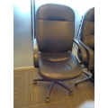 Black Leather High Back Rolling Executive Task Chair w Full Arms