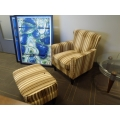 Multicolored Striped Guest Reception Chair w Matching Ottoman