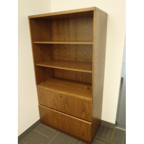 2-Drawer Wood File Cabinet with OH Bookcase Bookshelf 3-Shelves ...
