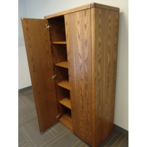 Wood 2 Door Enclosed Storage Cabinet 5 Shelves Bull Allsold