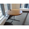 Maple Round Meeting Table w Chrome Base/Legs & Bull Nose