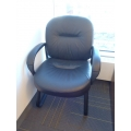 Black Leather Sleigh Office Reception Guest Chair w Arms
