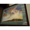 Painting of A Forest & Colorful Sky Apx 36x48