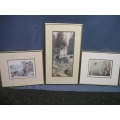 Lot of 3 Picture Prints- Hummingbird, Garden, Paris w Gold Frame