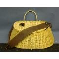 Fishing Creel Woven Basket w/ Leather Strap