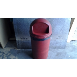 Red Rubbermaid Garbage Bin Single-Door Domed Receptacles