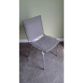 Light Blue Stacking Cloth Chair w/ Metal Legs No Arms