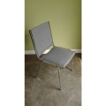 Grey Stacking Cloth Chair w/ Metal Legs No Arms