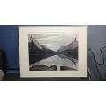 28 inch x 23 inch scenic Mountain Artwork with frame