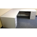 Steelcase Grey L Suite Desk, 2 Peds, Durable
