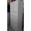 42 Meridian Off White 2 Door 4 Flip Top Drawers File Cabinet