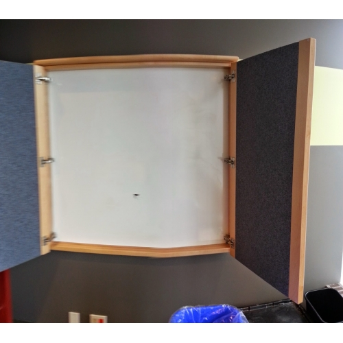 Enclosed Whiteboard Cabinet Egan W/ Swinging Door, Tack Surfaces