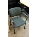 KI Rapture Black Teal Stacking Rolling Guest Task Chair w/ Arms