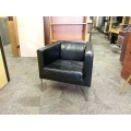 Ikea Klappsta Black Leather Arm Chair with Chrome Base