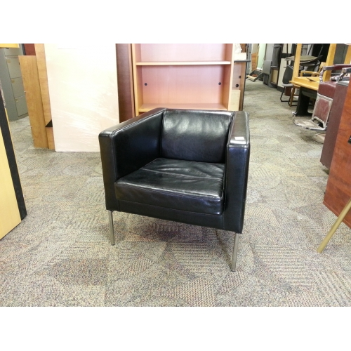 Delicieux Ikea Klappsta Black Leather Arm Chair With Chrome Base