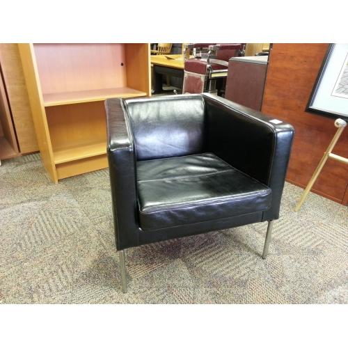Fine Ikea Klappsta Black Leather Arm Chair With Chrome Base Inzonedesignstudio Interior Chair Design Inzonedesignstudiocom