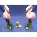 Lot of Ceramic Flamingo Ornaments