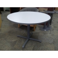 Haworth 42 in. Round Grey Laminate Meeting Table w Rubber Trim