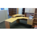 Blonde L-Suite Desk w Monitor Riser and Overhead Storage