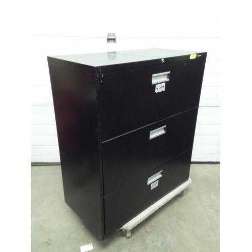 ProSource Black 3 Drawer Lateral Filing Cabinet, Locking